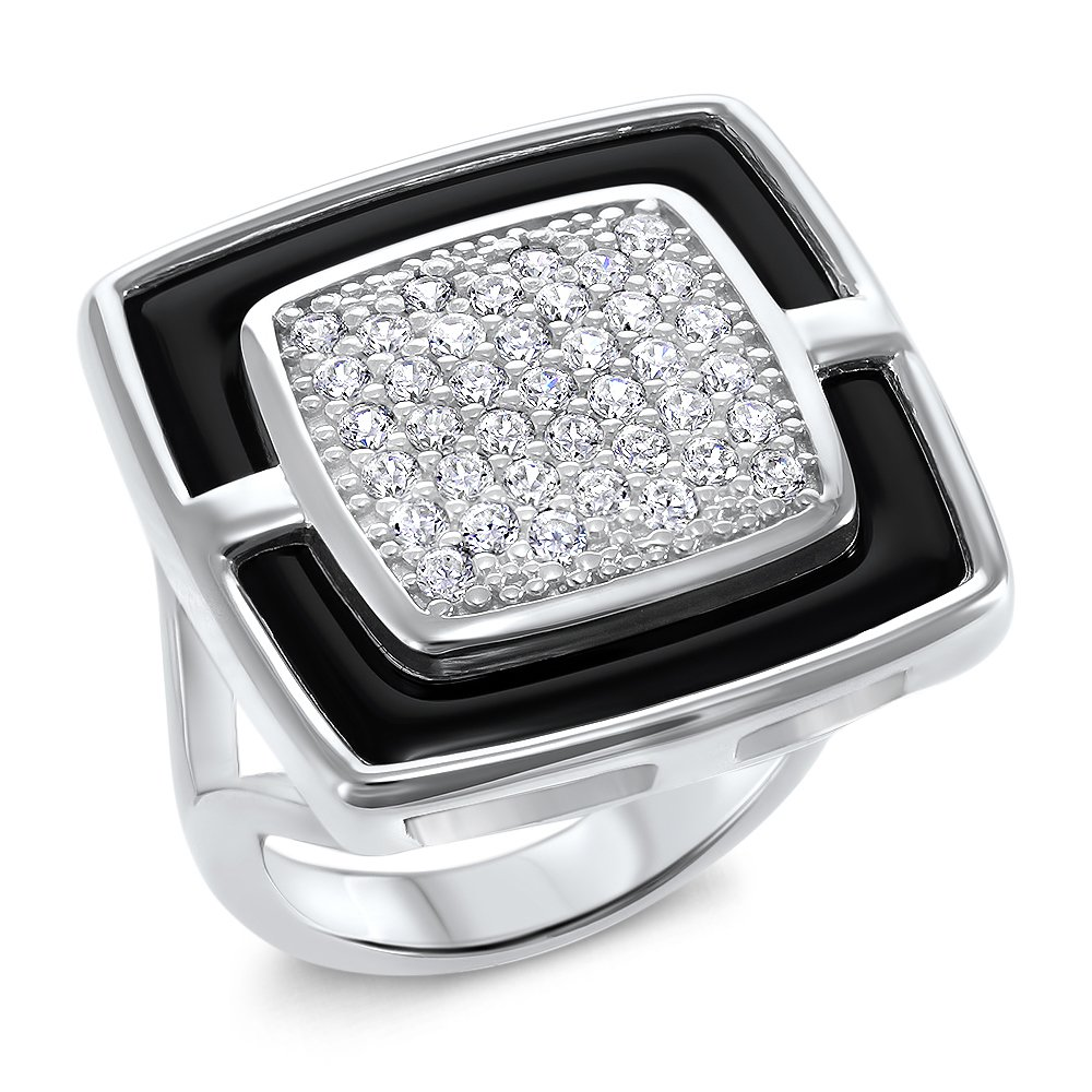 Amorucci Sterling Silver Davina Ring. Rhodium plated and set with White Cubic Zirconia Stones and Black Ceramic Insert. Size 7.75. Spoil yourself or buy someone special a unique gift.