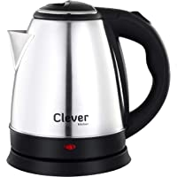 CLEVER KITCHEN Stainless Steel Automatic Cordless 1500-Watt , Portable Auto Shut-Off Electric Kettle , 1.2 L , Silver Black