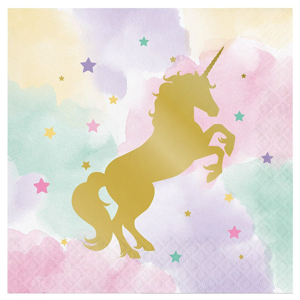 Dinner Plates and Table Cover Creative Converting Luncheon Napkins Cedar Crate Market Bundle: Unicorn Fantasy Party Supplies Pack for 16 Guests: Stickers Cups