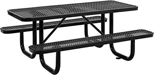 72 Expanded Metal Rectangular Picnic Table, Black