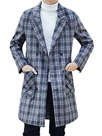 volume large good discount shop CRYYU Men Double-Breasted Outwear Checkered Slim Fit Trench ...