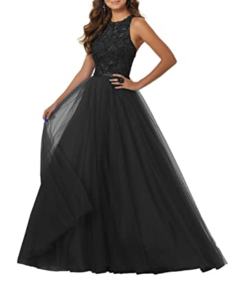 YORFORMALS Womens Crewneck A-Line Beaded Tulle Prom Dress Long Formal Evening Party Gown Size