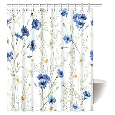 InterestPrint Watercolor Flower Decor Shower Curtain, Wildflowers Cornflowers Daisies Blooms and Buds Fabric Bathroom Shower Curtain Set with Hooks, 60 X 72 Inches
