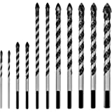 "amoolo Masonry Drill Bits Set 11Pcs (1/8"" - 1/2""), Mutli-Functional Concrete Drill Bit with Carbide Tip for Tile, Glass, Stuc"