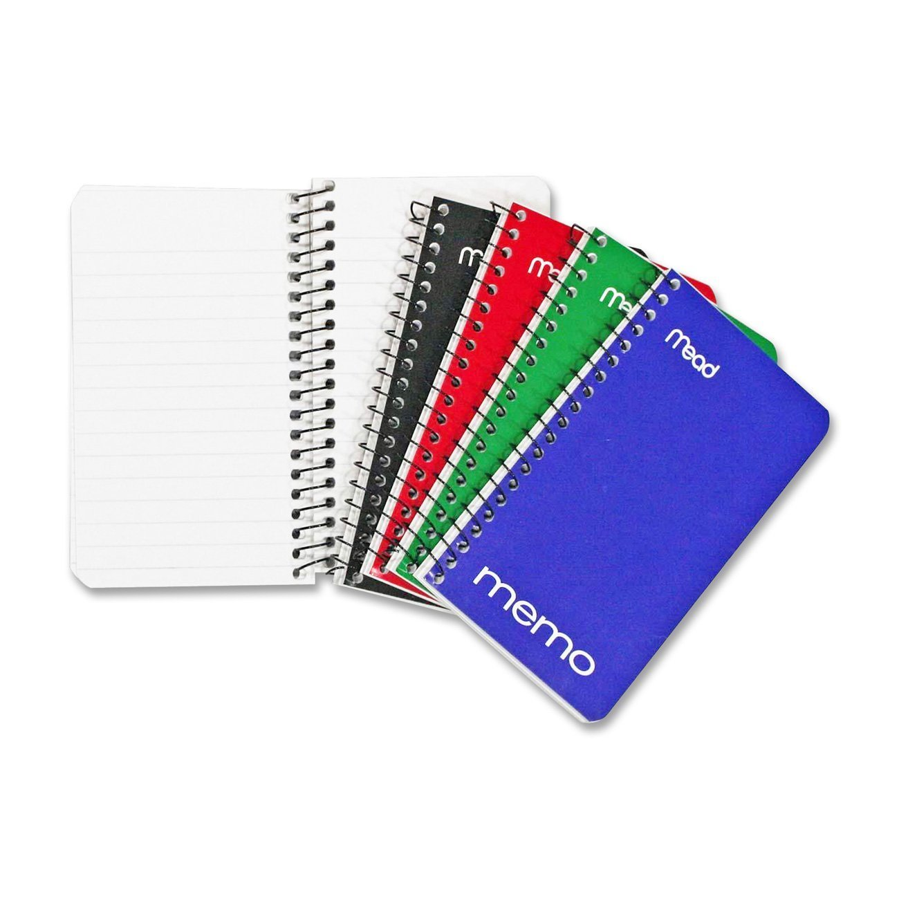"Mead Small Spiral Notebook, Spiral Memo Pad, College Ruled Paper, 60 Sheets, 5"" x 3"", Assorted Colors, 8 Pack (73605)"