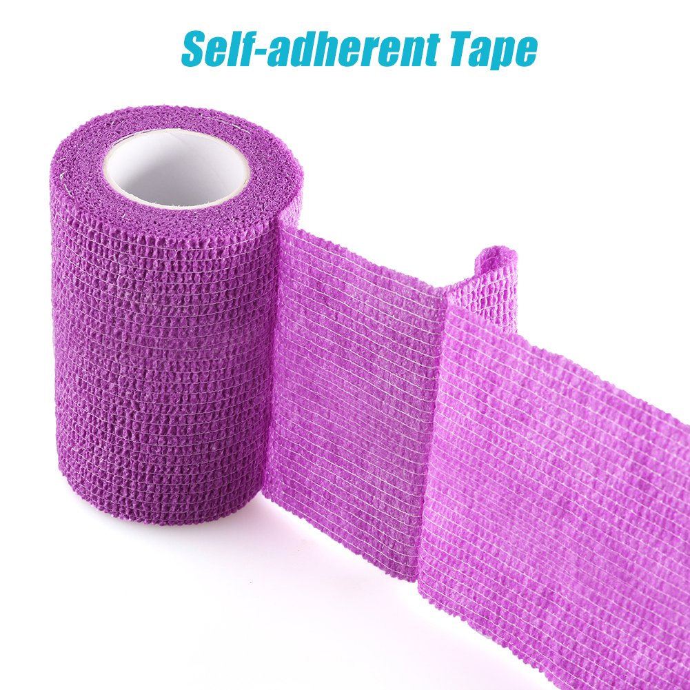 LotFancy Vet Self-Adherent Wrap - Cohesive Bandage Tape for Dog Cat Pet Horse, 10 Rolls, Assorted Colors, FDA Approved, 4 Inches x 5 Yards by LotFancy (Image #2)