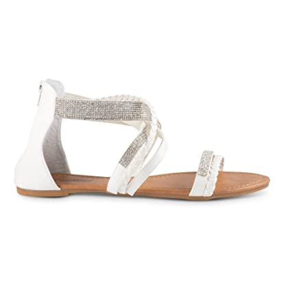 72f1a09b1 ... Twisted Women s Daisy Faux Leather T-Strap Sandal with Rhinestone  Accents - DAISY571-WHITE ...