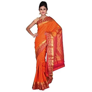 8a6f7a80ba3456 Vallalar Pure Kanchipuram Silk Orange saree with Blouse piece ...