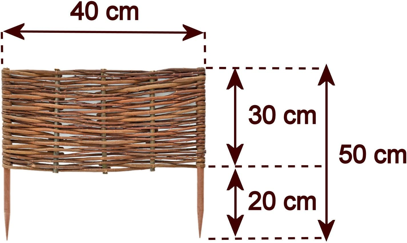 Border in 25 Sizes Floranica/® Wooden Border Fencing Impregnated Willow Edging Fence with Beech Stakes Length:1 pc x 30 cm Height:10 cm