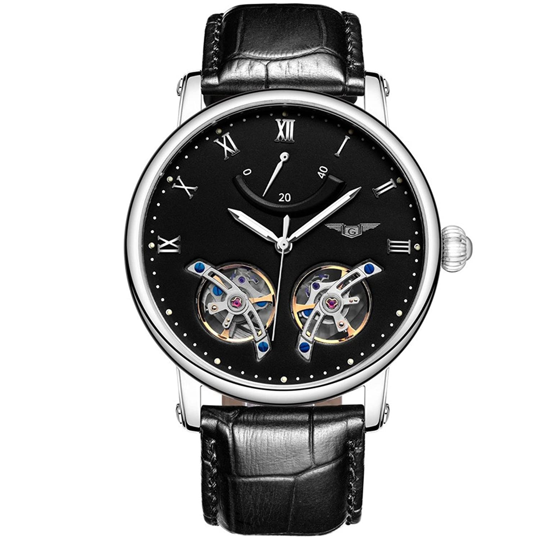 GUANQIN Analog Uhr Herren Automatik Mechanische Edelstahl und Leder Armbanduhr Silber Schwarz
