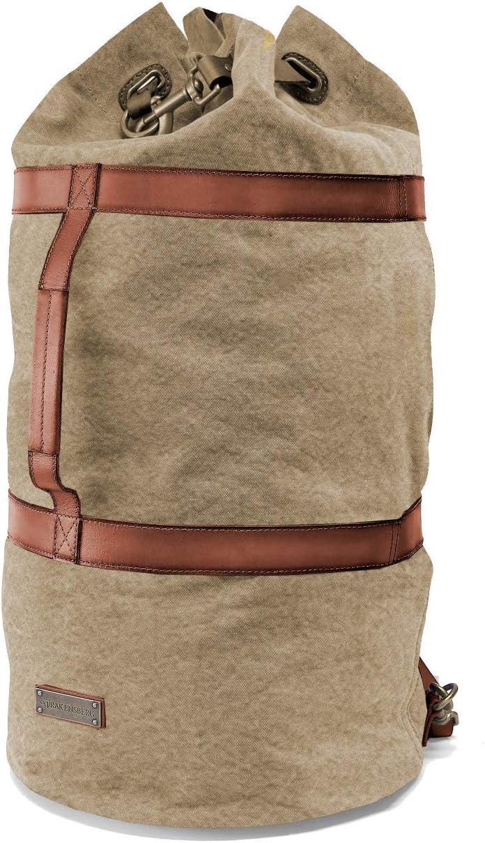 DRAKENSBERG Kimberley Duffel Bag, petate marinero, mochila, bolsa de vela, lona, cuero, vintage, safari, beis, marrón