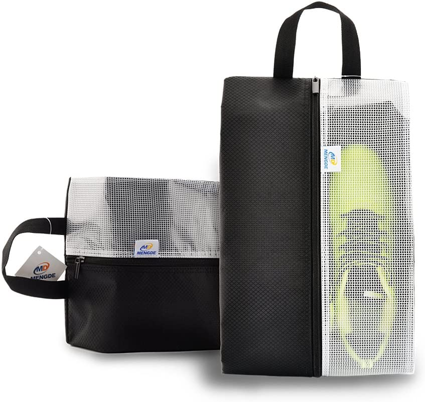 Lermende Travel Shoe Bags Waterproof Nylon Organizer Storage Tote Pouch 2pcs (Black)