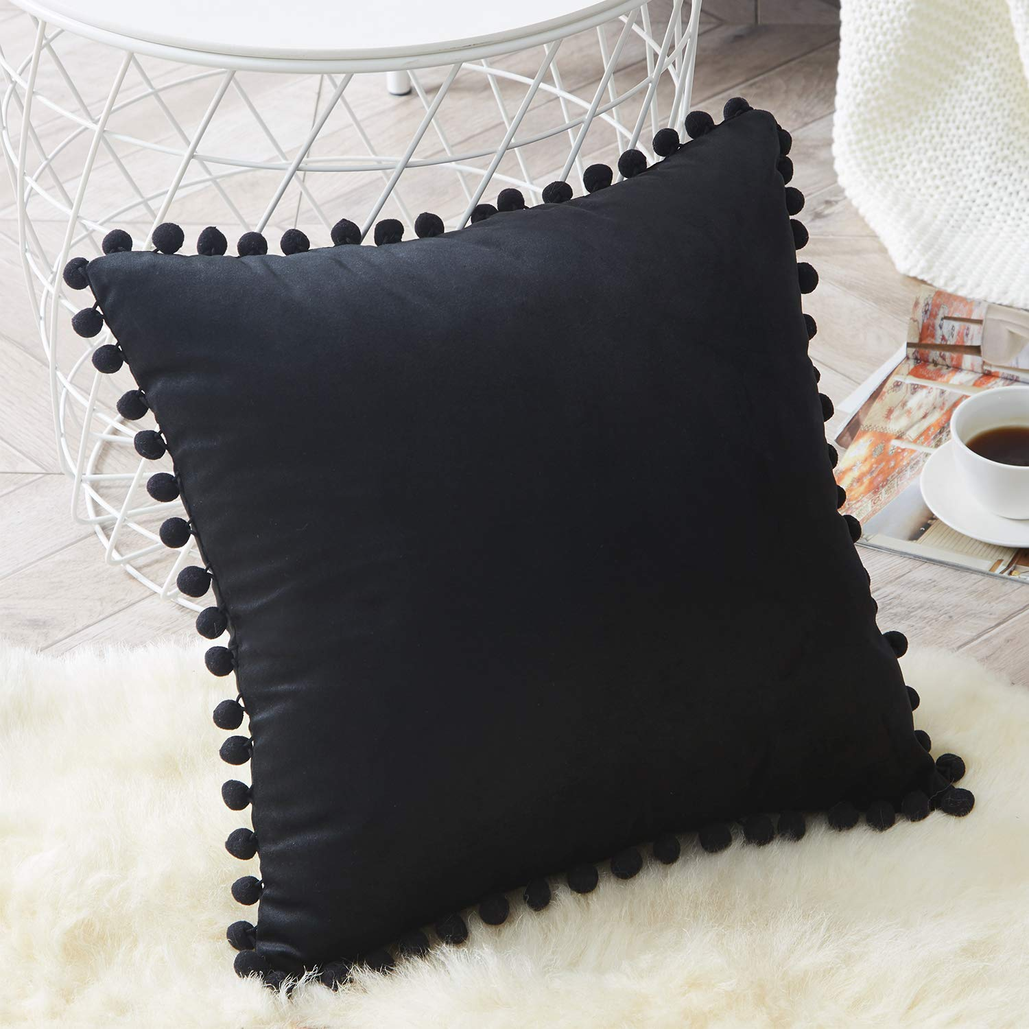 Top Finel Decorative Throw Pillow Covers for Couch Bed Soft Particles Velvet Solid Cushion Covers with Pom-poms, Pack of 1, Black