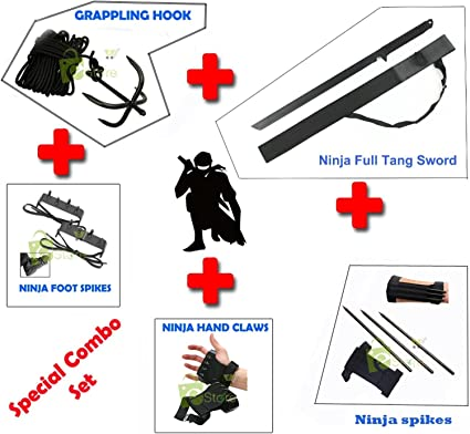 NINJA Combo Grappling Hook,Hand claws,Foot Spike, Kunai Spikes, Ninja Sword