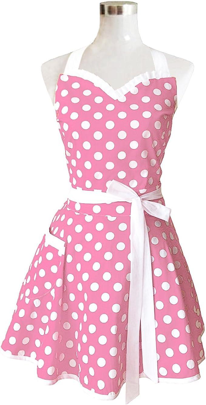 Vintage Princess Cotton Ladies Women Apron Kitchen Cooking Apron Pink