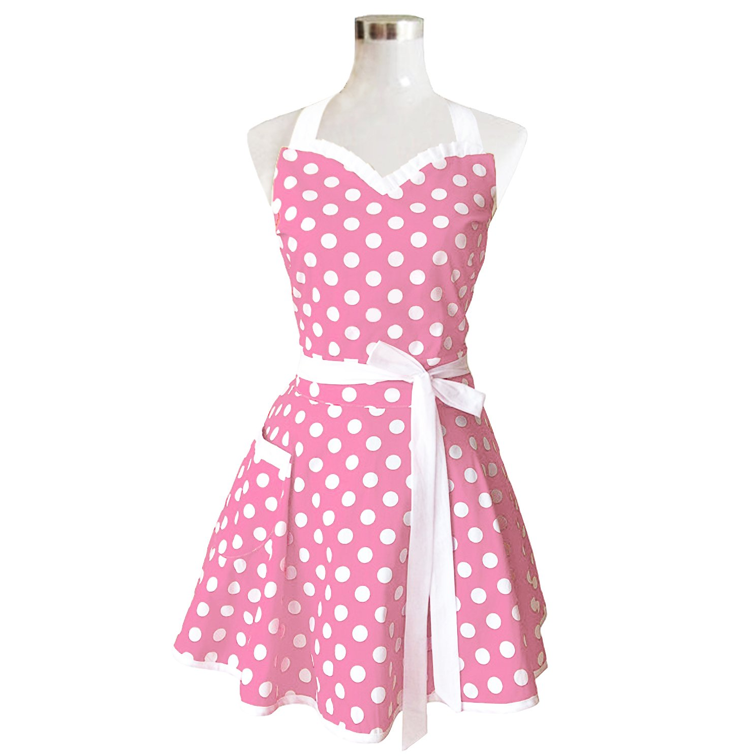 Lovely Sweetheart Pink Retro Kitchen Aprons Woman Girl Cotton Polka Dot Cooking Salon Pinafore Vintage Apron Dress Christmas