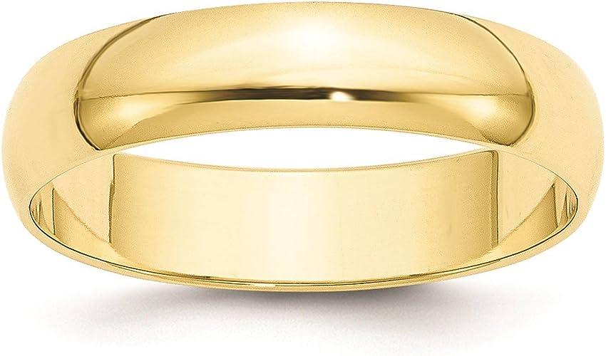 Mens 10K Yellow Gold 8mm Light Half Round Wedding Band Ring