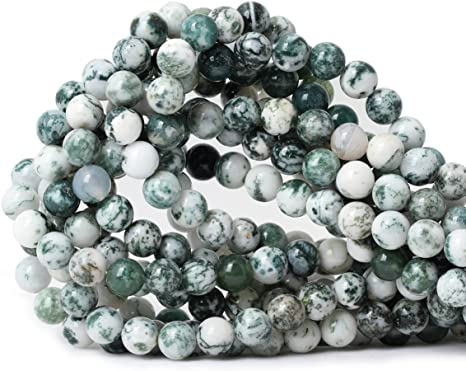 Tree Agate Round Beads 8mm White//Green 45 Pcs Gemstones Jewellery Making Crafts