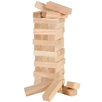 40 Pcs Plain Wooden Blocks Tumbling Jenga Building Tower Stacking Stategy Game Classic Family Entertainment Fun Beauteous Games With Wooden Blocks