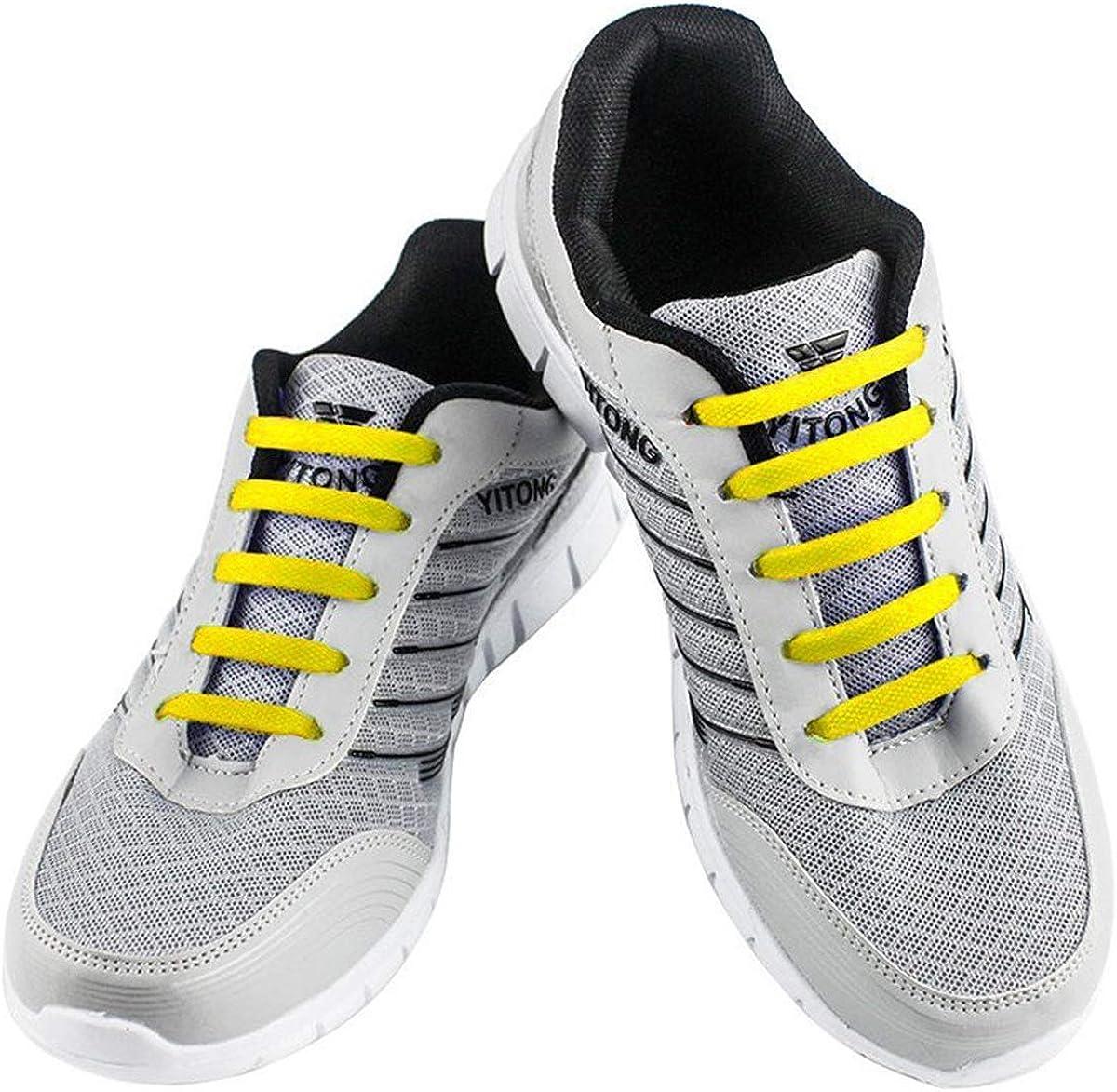 WELKOO® Cordones elásticos de silicona sin nudo impermeables para calzado de adulto -16 pza,Talla ADULTO amarillo: Amazon.es: Zapatos y complementos
