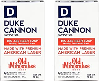 product image for Duke Cannon Supply Co. - Big Ass Beer Soap, Made with Old Milwaukee American Lager (2 Pack of 10 oz) Superior Grade Soap Made with American Lager Old Milwaukee Beer - Woodsy, Sandalwood