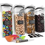 Cereal Container Storage Set - Airtight Food Storage Containers, Kitchen & Pantry Organization, 8 Labels, Spoon Set…