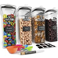 Cereal Container Storage Set - Airtight Food Storage Containers, Kitchen & Pantry Organization, 8 Labels, Spoon Set & Pen, Great for Flour - BPA-Free Dispenser Keepers (135.2oz) - Chef€™s Path