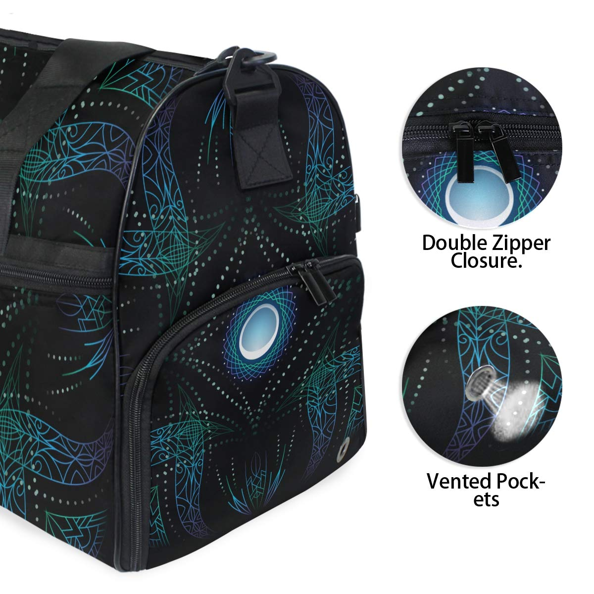 Gym Travel Duffel Bag Blue Light Waterproof Lightweight Luggage bag for Sports Vacation