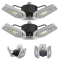 2-Pk LZHome LED Garage 60W Lights, 6500Lumens E26/E27