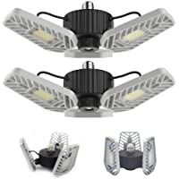 2-Pack Lzhome 6500Lumens E26/E27 Adjustable Trilights Garage Ceiling Light with Panels