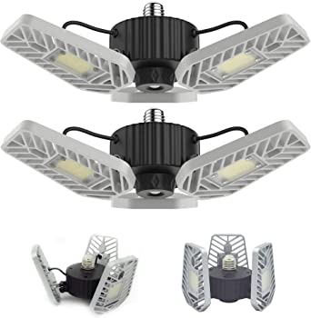 2-Pack Lzhome 6500Lumens E26/E27 Adjustable Trilights Garage Ceiling Light