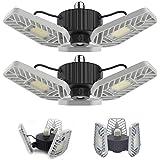 LZHOME 2-PACK LED Garage Lights, 6500Lumens E26/E27 Adjustable Trilights Garage Ceiling Light ,60W LED Garage Light, CRI>80,
