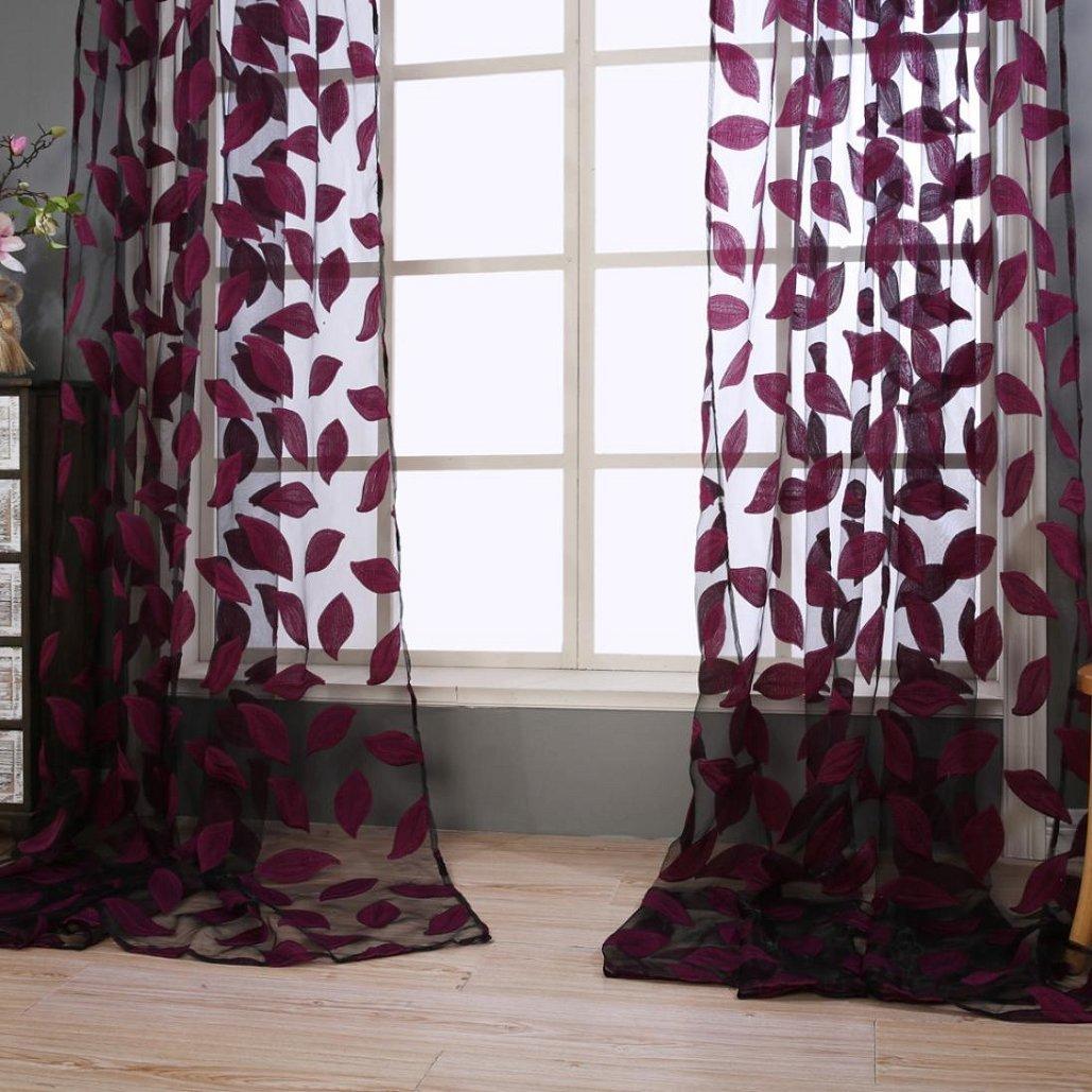 2pcs Leaf Tulle Door Window Curtain ,Tuscom (Red)