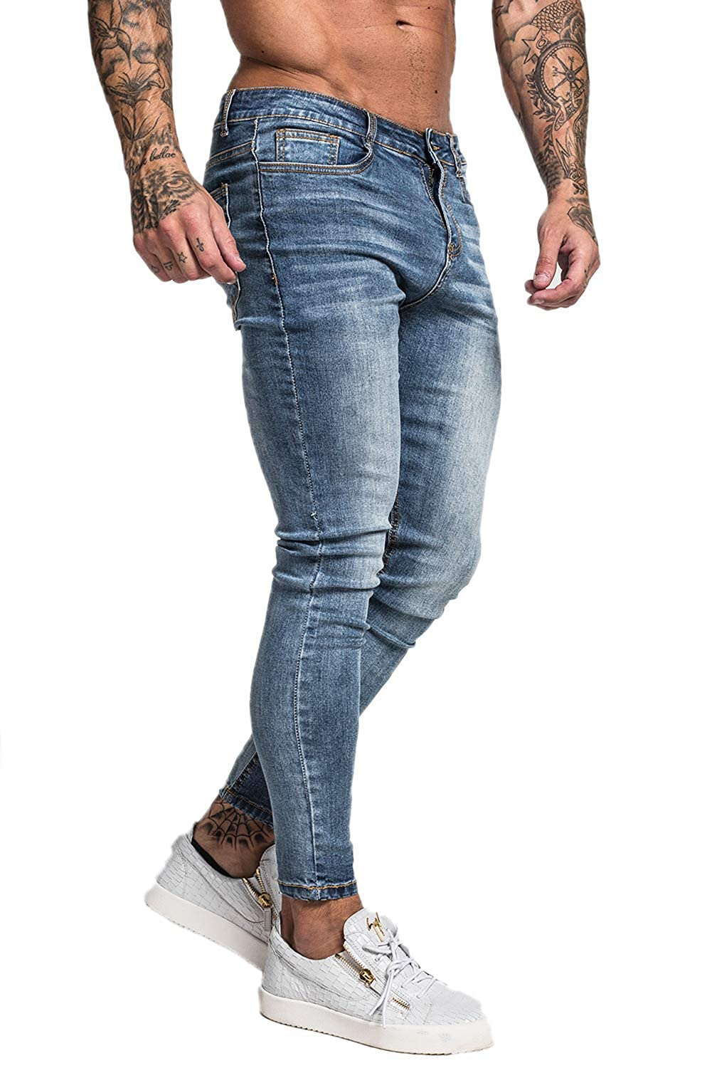Gingtto Men's Skinny Jeans Super Stretch Ripped Jeans Slim Fit