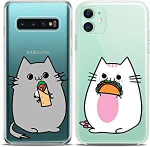 Cavka Matching Couple Cases Replacement for Samsung Galaxy S20 Note 20 5G S10e A71 A50 A11 A01 S7 S8 Kawaii Cat Taco Food Ideas Cute Art Mate Silicone Pair Cover Clear Love Adorable