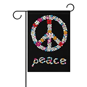 ALAZA Double Sided Spring Peace Sign Flower Symbol Polyester Garden Flag Banner 12 x 18 Inch for Outdoor Home Garden Flower Pot Decor