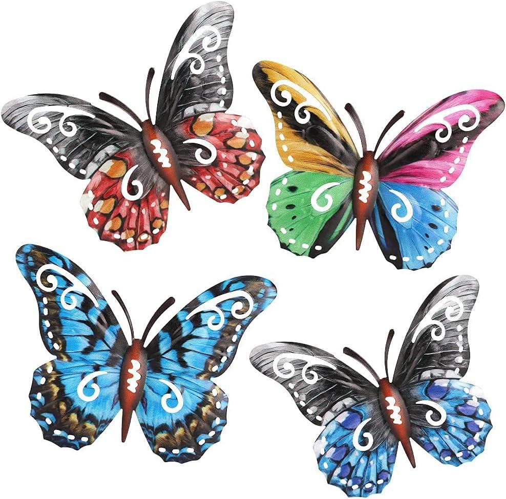 4 Pack 3D Metal Butterfly Decor, Inspirational Wall Decor Sculpture Hanging Indoor Outdoor for Home, Bedroom, Living Room, Office, Garden