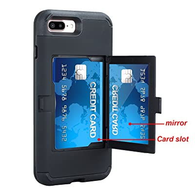 iPhone 7 Plus Case, iPhone 7 Plus Mirror Case,Hidden Back Mirror Wallet Case for Girls Women with Card Holder Impact Shock-Absorbent Case Cover for Apple iPhone 7 Plus. (Black): Clothing