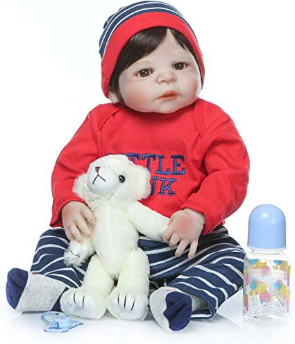 """Newborn Baby Soft Silicone Alive Reborn Doll Poseable Cat Outfit Infant Toy 22/"""""""
