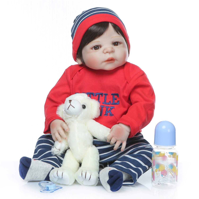 Zero Pam Realistic Reborn Baby Boy Doll 58cm 23 inch Full Silicone Vinyl Body Reborn Baby Doll for Kids Birthday Playmate Growth Partner