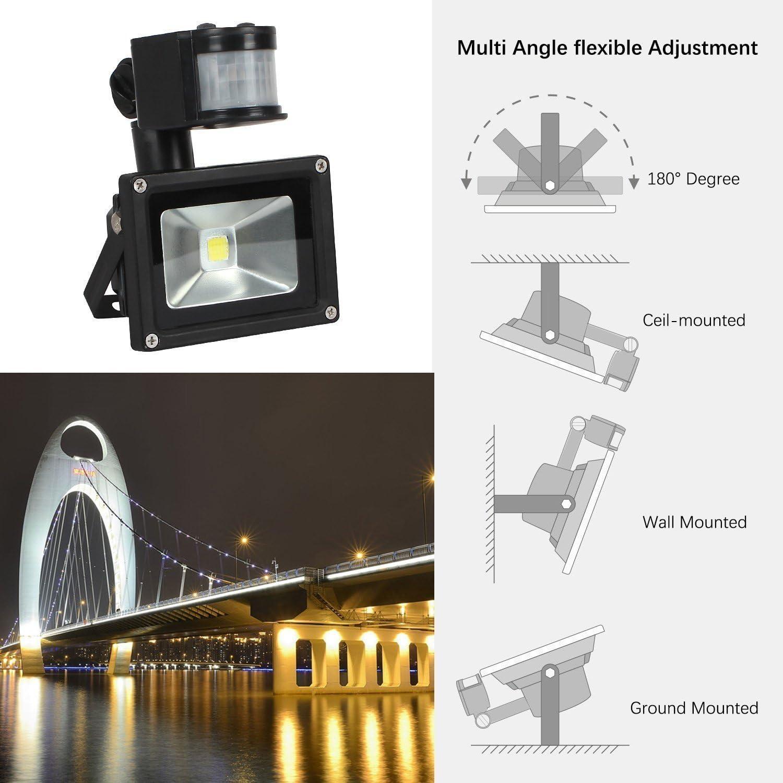 US 3-Plug Outdoor Wall Light FAISHILAN Motion Sensor Flood Light 10W LED IP65 Waterproof Security Lights 6000K 800 Lumen