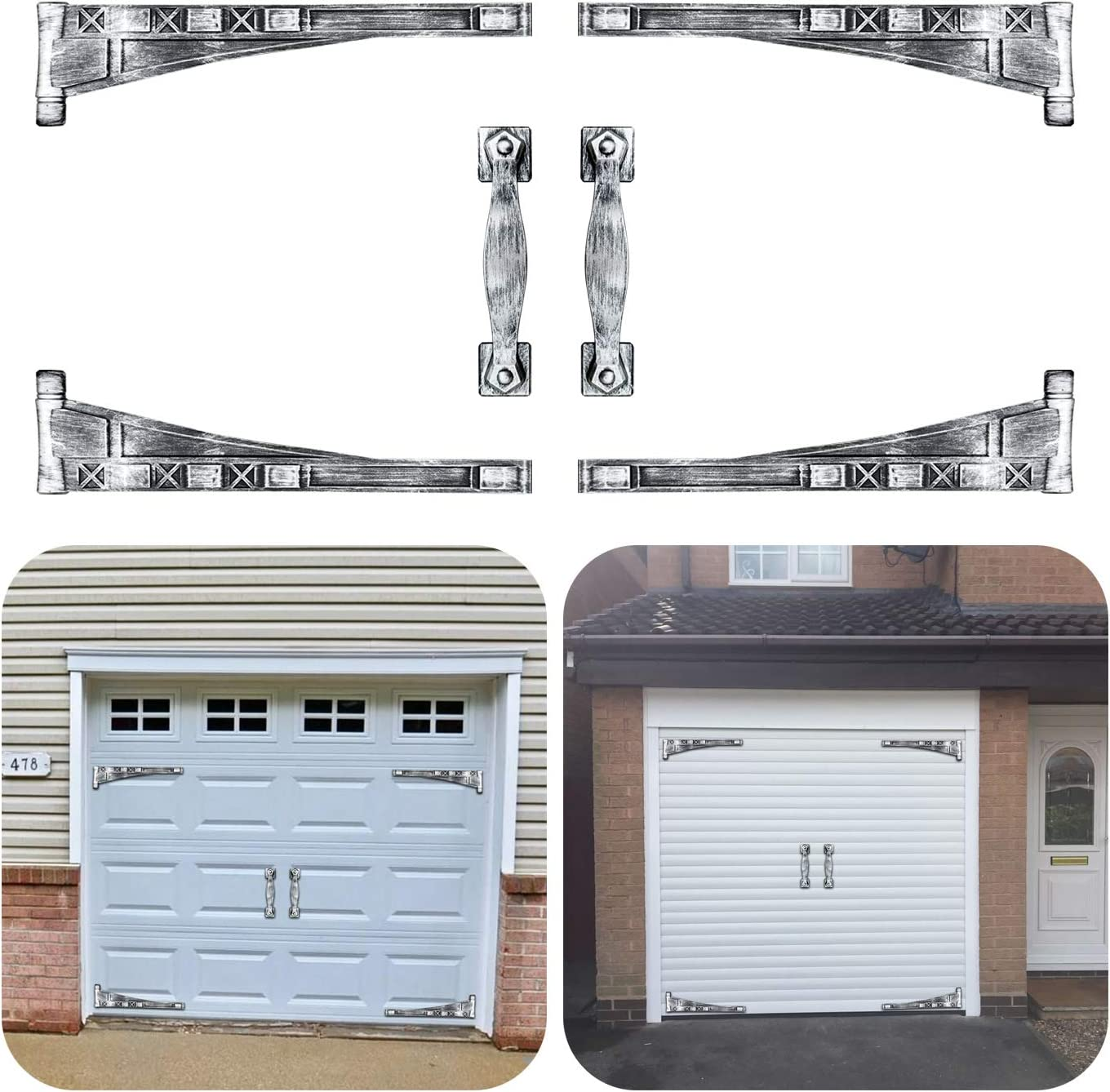 Strong Magnet Mounted//Antique Silver Magnetic Garage Door Decorative Hardware Accents Kit// 4 Hinges /& 2 Square Style Handles