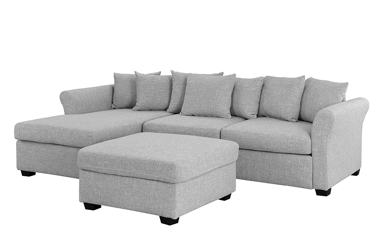 Amazon.com: Sofá tapizado de sección con otomano, sofá en ...