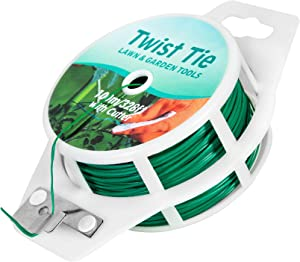 Unves Green Twist Ties with Cutter, Plant Ties for Potted Plants, Multi-Function Garden Twist Ties for Plants Gardening Home Office, Reusable Plastic Coated Ties(328 Ft)