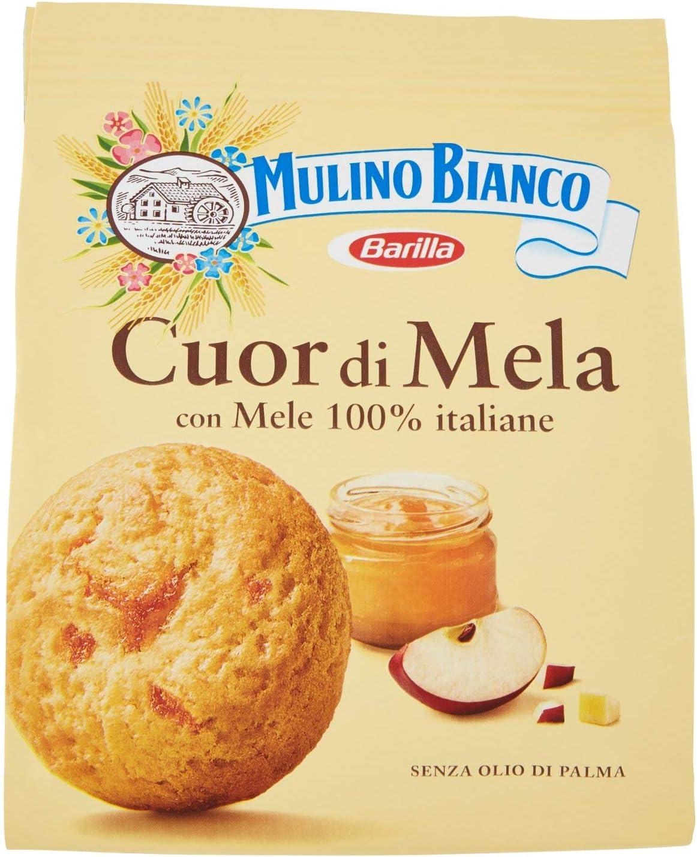 Mulino Bianco Biscotti Frollini Cuori di Mela, Colazione Ricca di Gusto, Mele 100% Italiane - 300 g