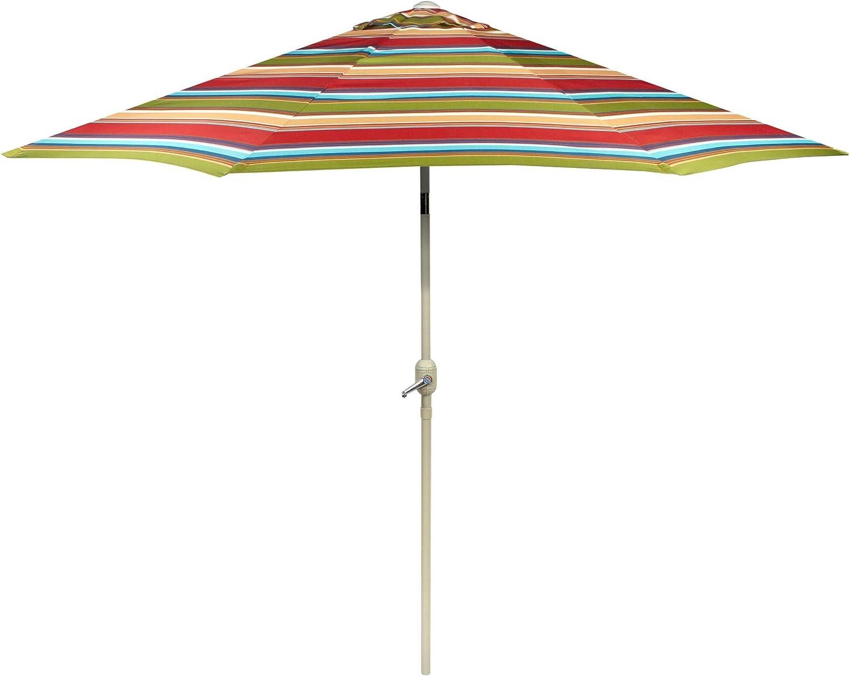 9 Foot Orange/Green/Blue/Yellow/Beige Striped Market Umbrella/Crank/Tilt