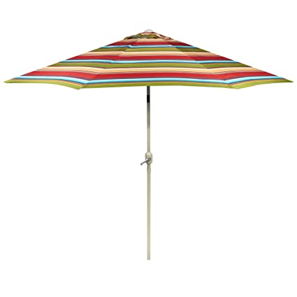 Bon Nantucket 9 Foot Red/Orange/Blue Striped Market Umbrella/Crank / Tilt