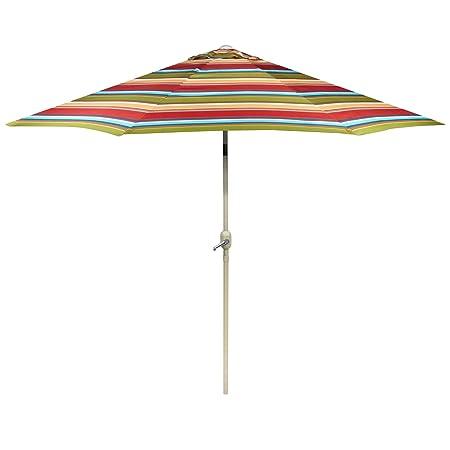 Nantucket 9 Foot Red Orange Blue Striped Market Umbrella Crank Tilt
