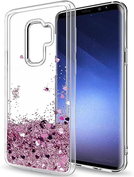 LeYi Compatible con Funda Samsung Galaxy S9 Plus Silicona Purpurina Carcasa con HD Protectores de Pantalla,Transparente Cristal Bumper Telefono Gel TPU Case Cover para Movil S9 Plus ZX Oro Rosa: Amazon.es: Electrónica