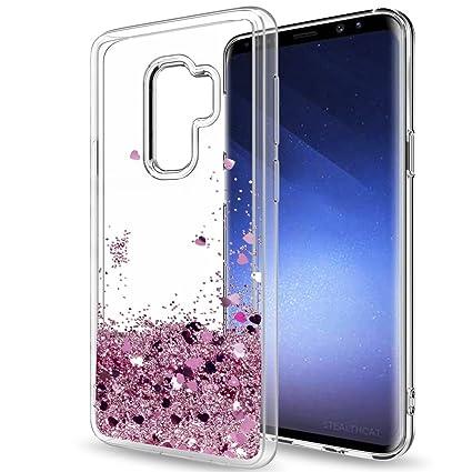 LeYi Compatible con Funda Samsung Galaxy S9 Plus Silicona Purpurina Carcasa con HD Protectores de Pantalla,Transparente Cristal Bumper Telefono Gel ...